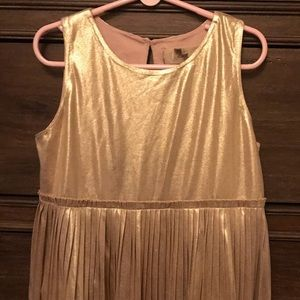 PEEK girls gold pleated party dress/holiday dress